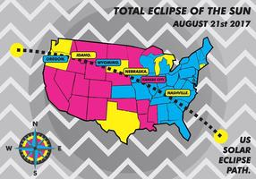 US Solar Eclipse Path Map Vector Background