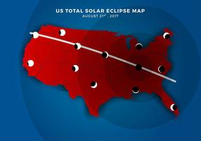 US Total Solar Eclipse Path Map Gratis Vector