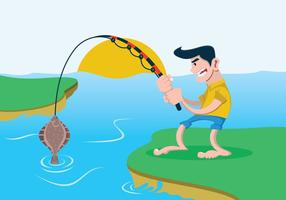 Man Fishing for a Flounder Fish Vector