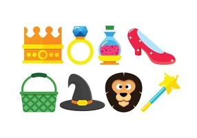 Wizard of oz set vector icons