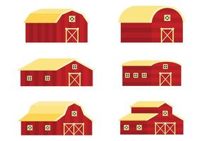 Red Barn Vector Icons