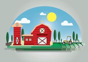 Red Barn Flat Illustration Background