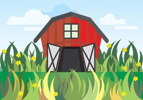 Red Barn Behind Grass vector