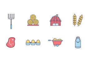 Farmer, Agriculture, and Dairy Icons vector