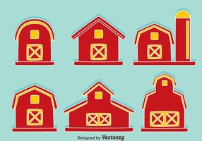 Red Barn On Blue Vector