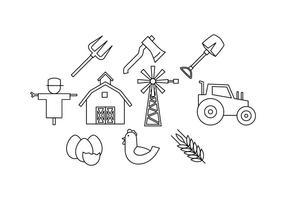 Libres de la línea de la granja Icon Vector