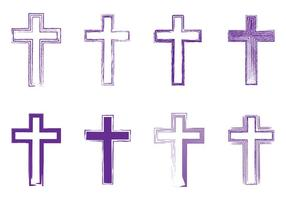 Abstract Artistic Lineart Lent Crosses