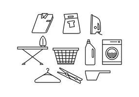 Línea gratuita de lavandería Icon Vector