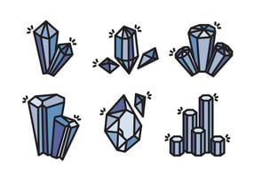 Quartz Crystal Stone Vector Icon Collection