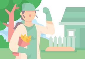 Vectorista del experto del comerciante del jardinero