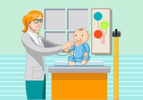 Amistoso, mujer, pediatra, bebé, vector