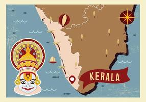 Kerala Map with Iconic Illustration Vector