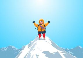 Climber At The Top Of Matterhorn Vector
