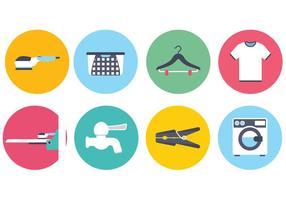 Lavanderia e lavaggio icone vettoriali
