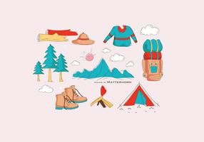 Hiking Equipment in Matterhorn Vector