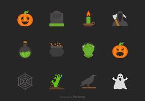 Halloween Vector Flat Icon Set