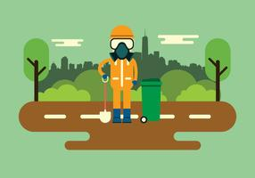 Worker With Safety Equipment Vector