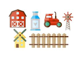 Beautiful Farm and Red Barn Vector
