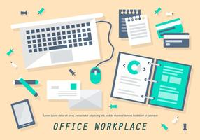 Free Flat Office Arbeitsplatz Vektor-Illustration