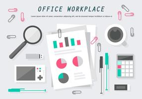 Gratis Flat Office Workplace Vector Illustratie