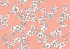 Dogwood Flowers Seamless Pattern on Pink Background
