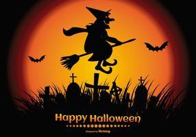 Ilustración feliz de Halloween con una silueta fantasmagórica de la bruja