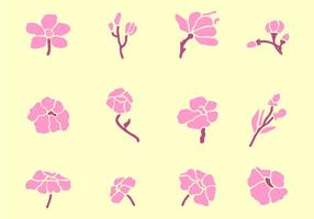 Set med vackra blommor