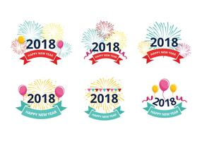 Happy New Year 2018 Greeting Free Vectors