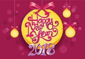 Happy New Year 2018 Hand-lettering Vector
