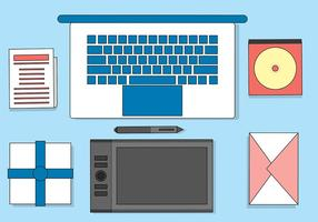 Free Flat Vector Designers Desktop Illustration