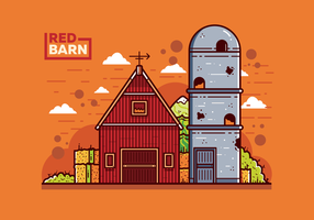 Red Barn och Silo Vector