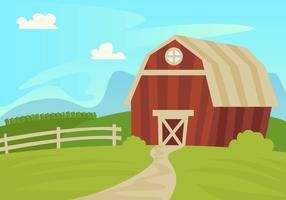 Red Barn Landscape Illustration Vector