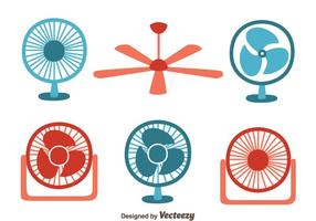 Red And Blue Fan Collection Vector