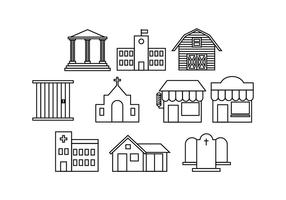 Free Buildings Line Icon Vector