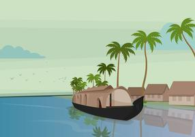 Boat in Kerala Vector Illustration