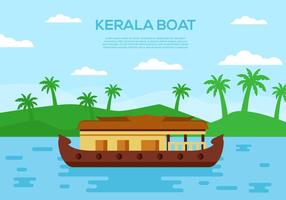 Vecteur traditionnel de scène de bateau traditionnel de Kerala