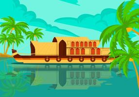 Kerala Houseboat Vector Background Illustration