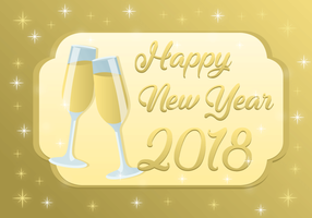 Happy New Year 2018 Free Vector Background