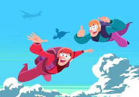 Two Men Skydiving Vector