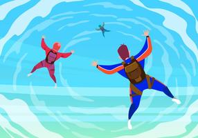Skydiver Flying In The Sky Vector