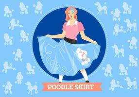 Kvinna Posing With Poodle Kjol Kostym Vector