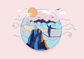 Tightrope Above the Clouds Vector