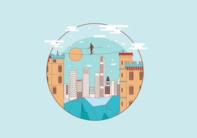Tightrope in the Building Vector
