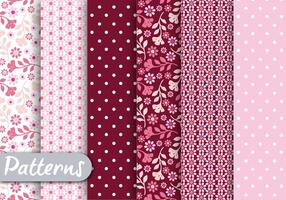 Pink Floral Romantic Pattern Set  vector