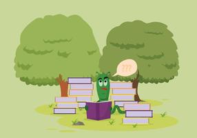 Free Bookworm Reading in the Garden Vector