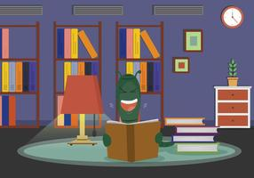 Free Bookworm Reading In Living Room Illustration