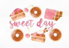 Ilustración vectorial de dulces de acuarela