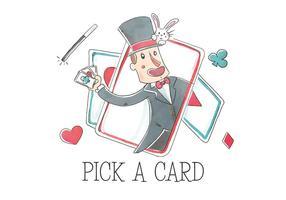 Mágico do circo com cartas de jogo e coelho no chapéu