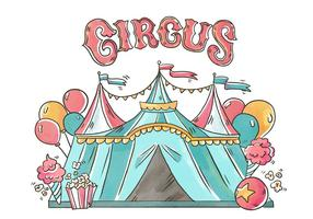 Circus Tent With Balloons, Pop Corn And Ice Cream vector