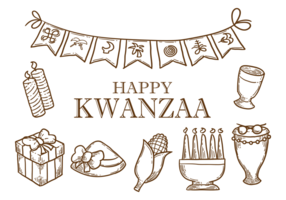 Hand Drawn Kwanzaa Icons Vector